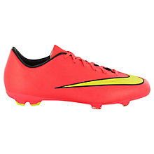 Buy Nike Children's Mercurial Victory V FG Football Boots, Neon Pink/Gold Online at johnlewis.com
