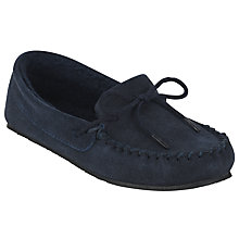 Buy John Lewis Moccasin Slippers, Navy Online at johnlewis.com