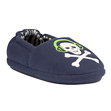 Buy John Lewis Boy Skull & Headphones Slippers, Navy Online at johnlewis.com