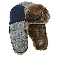 Buy John Lewis Faux Fur Trim Trapper Hat, Grey/Navy Online at johnlewis.com