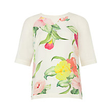 Buy Ted Baker Roenina Flower Print Top, Cream Online at johnlewis.com
