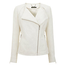 Buy Mint Velvet Jacquard Biker Jacket, Ivory Online at johnlewis.com