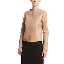 Buy Gérard Darel Collarless Leather Jacket, Golden Beige Online at johnlewis.com