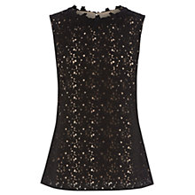 Buy Oasis Lace High Neck Shell Top, Black Online at johnlewis.com