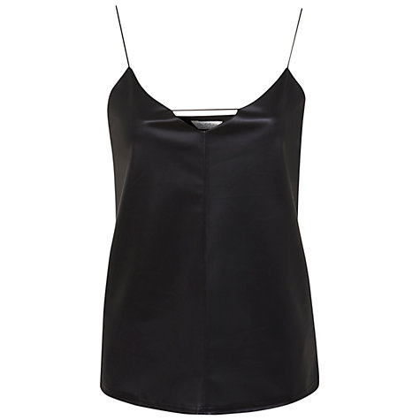 Buy Miss Selfridge Faux Leather Cami Top, Black Online at johnlewis.com