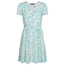 Buy French Connection Marylin Tie Neck Dress, Vapour Blue/Multi Online at johnlewis.com