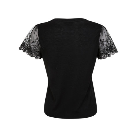 Buy Miss Selfridge Lace Sleeve T-Shirt, Black Online at johnlewis.com
