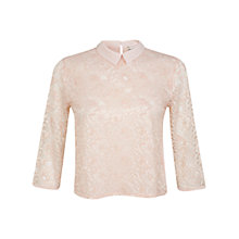 Buy Miss Selfridge Lace Collar Top, Pink Online at johnlewis.com