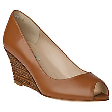 Buy L.K. Bennett Claude Leather Open Toe Wedges, Tan Online at johnlewis.com