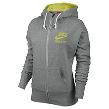 Buy Nike Track & Field Hooded Sweat Shirt, Dark Grey Heather/Venom Green Online at johnlewis.com