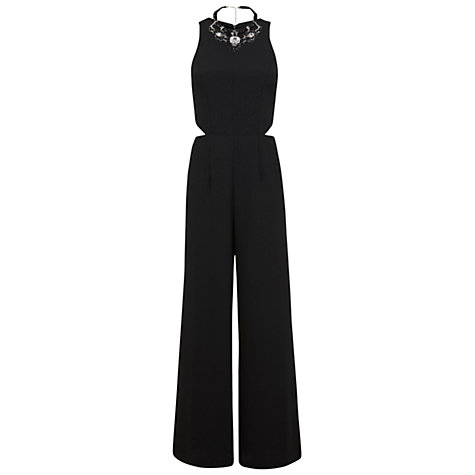 Buy Miss Selfridge Necklace Trim Jumpsuit, Black Online at johnlewis.com