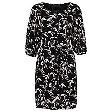 Buy French Connection Hatched Horses Waist Tie Dress, Black Online at johnlewis.com