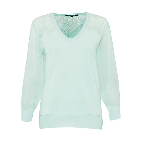 Buy French Connection Ditton Lace Sweatshirt, Tea Tree Online at johnlewis.com