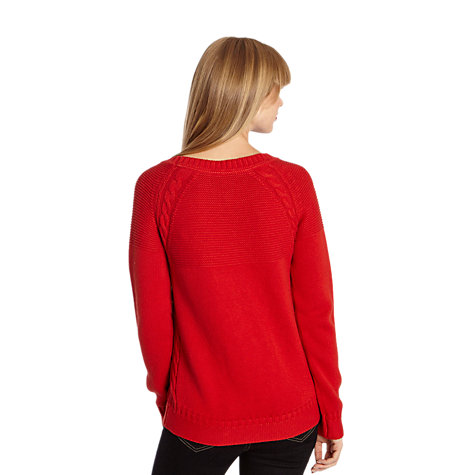 Buy Joules Lowry Cable Knit Jumper, Red Online at johnlewis.com