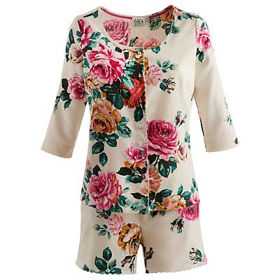 Joules Mellow Floral Pyjama Set, Cream Rose