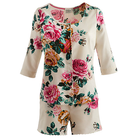 Buy Joules Mellow Floral Pyjama Set, Cream Rose Online at johnlewis.com
