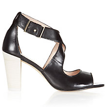 Buy NW3 by Hobbs Stefi Leather Block Heeled Sandals, Black/Ivory Online at johnlewis.com