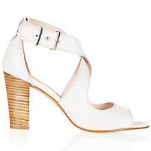 Buy NW3 by Hobbs Stefi Leather Block Heeled Sandals, Ivory Online at johnlewis.com