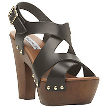 Buy Steve Madden Liable Leather Platform Sandals, Black Online at johnlewis.com