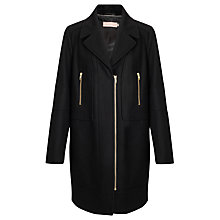 Buy John Lewis Long Line Biker Coat, Black Online at johnlewis.com