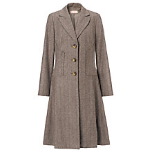 Buy John Lewis Fit And Flare Herringbone Coat, Brown Online at johnlewis.com