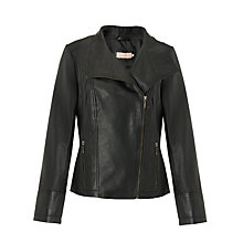 Buy John Lewis Zip Front Leather Jacket, Black Online at johnlewis.com