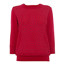 Buy Wishbone Erica Broderie Jumper, Deep Pink Online at johnlewis.com