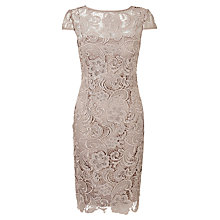 Buy Adrianna Papell Cap Sleeve Lace Dress, Buff Online at johnlewis.com