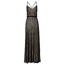 Buy Adrianna Papell Long Halter Blouson Dress, Black/Nude Online at johnlewis.com