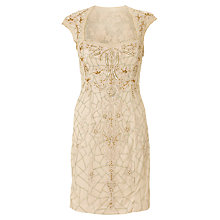 Buy Adrianna Papell Short Beaded Shift Dress, Champagne Online at johnlewis.com