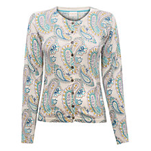 Buy East Watercolour Paisley Cardigan, Pearl Online at johnlewis.com