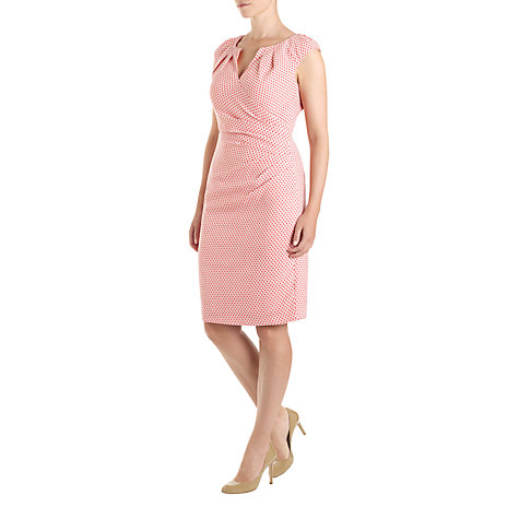 Buy Adrianna Papell Spot Jaquard Side Pleat Dress, Cayenne Pink Online at johnlewis.com