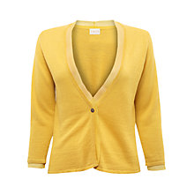 Buy East One Button Silk Trim Cardigan, Daffodil Online at johnlewis.com