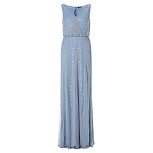 Buy Adrianna Papell Long Beaded Keyhole Neck Dress, Sky Blue Online at johnlewis.com