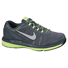 Buy Nike Childrens' Dual Fusion Run 3 Trainers, Dark Grey/Electric Green Online at johnlewis.com