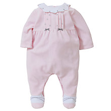 Buy Emile et Rose Baby Dalia Pleat Velour Sleepsuit with Plush Toy, Pink Online at johnlewis.com