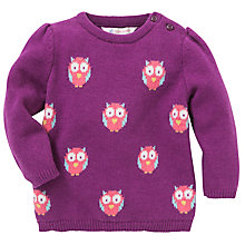Buy John Lewis Owl Intarsia Knit Jumper, Purple Online at johnlewis.com