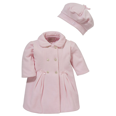 Buy Emile et Rose Baby Daska Velour Coat & Hat Set, Pink Online at johnlewis.com