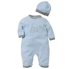 Buy Emile et Rose Baby Dougie Cotton Knit Romper Set & Plush Toy, Blue Online at johnlewis.com