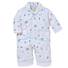 Buy Emile et Rose Baby Dandy Transport Print Romper & Plush Toy, Blue Online at johnlewis.com