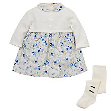 Buy Emile et Rose Baby Daphne Floral Dress & Tights Set, Ivory/Blue Online at johnlewis.com