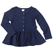 Buy Polarn O. Pyret Girls' Broderie Anglais Detail Cardigan, Blue Online at johnlewis.com