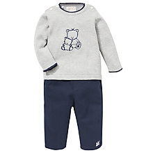Buy Emile et Rose Baby Teddy Applique Outfit & Plush Toy, Navy/Grey Online at johnlewis.com
