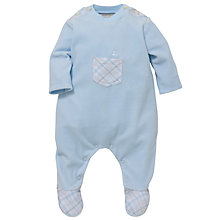 Buy Emile et Rose Baby Doyle Velour Sleepsuit, Blue Online at johnlewis.com