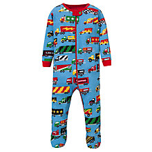 Buy Hatley Baby Truck Print Sleepsuit, Blue/Multi Online at johnlewis.com