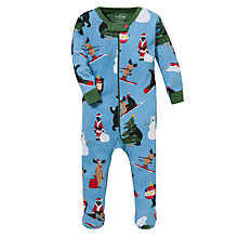 Buy Hatley Baby Christmas Animal Print Sleepsuit, Blue/Multi Online at johnlewis.com