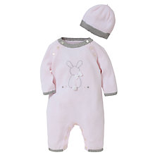 Buy Emile et Rose Baby Cotton Knit Romper Set & Plush Toy, Pink Online at johnlewis.com