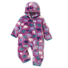 Buy Hatley Baby Fleece Elephant Print Snugglesuit, Purple Online at johnlewis.com