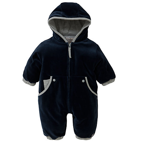 Buy Emile et Rose Baby Velour Pramsuit & Plush Toy, Navy Online at johnlewis.com
