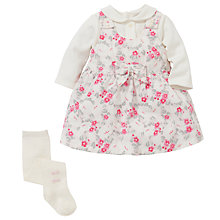 Buy Emile et Rose Baby Delia Floral Pinafore, Body & Tights Set, Pink Online at johnlewis.com